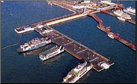 Floating docks, piers, berths and container terminals